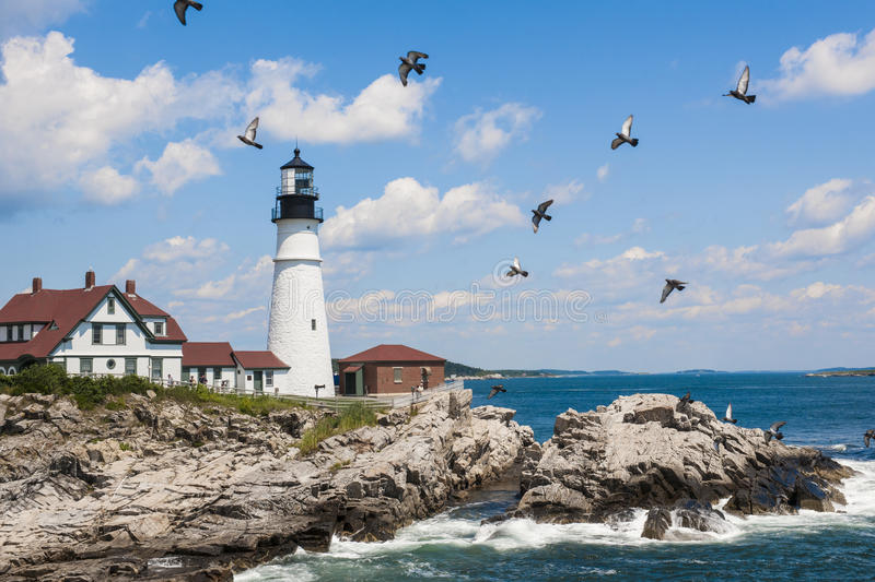 Portland Head Lighthouse in Maine stock photography