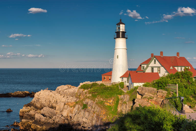 The Portland Head Lighthouse at sunset royalty free stock images