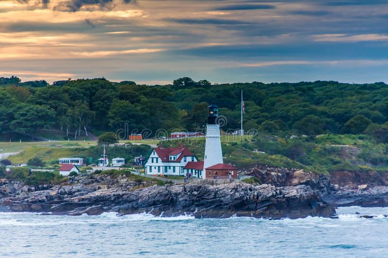 Portland Head LIghthouse in Sunset stock photography