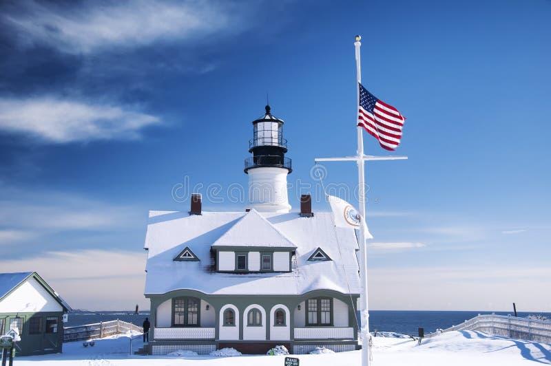 Portland Headlight blue sky winter day royalty free stock image