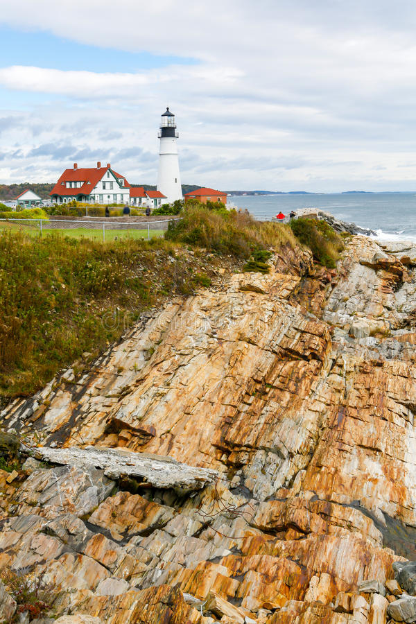 Portland Headlight Lighthouse in South Portland Maine. The Portland Headlight Lighthouse in South Portland Maine stock images