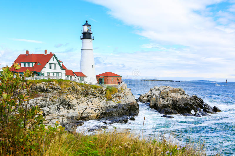 Portland Headlight Lighthouse in South Portland Maine. The Portland Headlight Lighthouse in South Portland Maine royalty free stock image