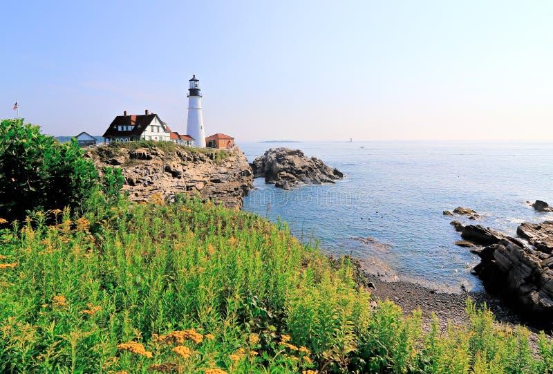 Portland Heahlight fyr, Maine, USA royaltyfria foton
