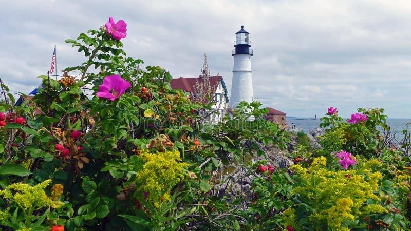 Portland huvudfyr, udde Elizabeth, Maine arkivbild