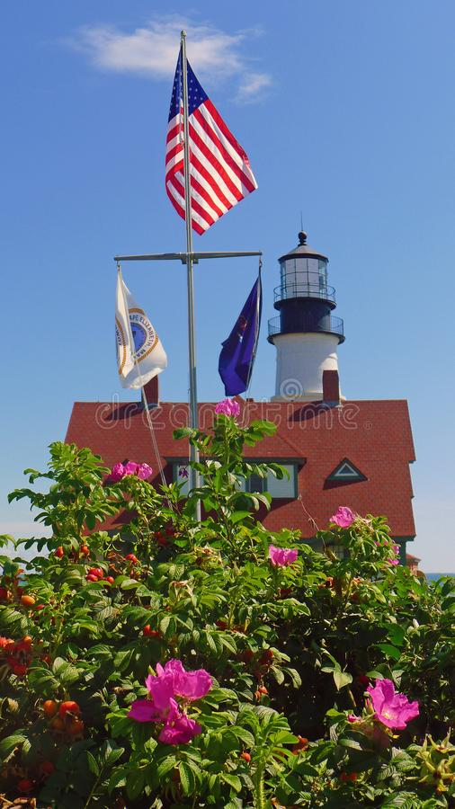 Portland huvudfyr, udde Elizabeth, Maine royaltyfri bild