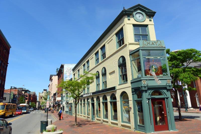 Portland konstområde Hay Building, Maine, USA arkivbilder