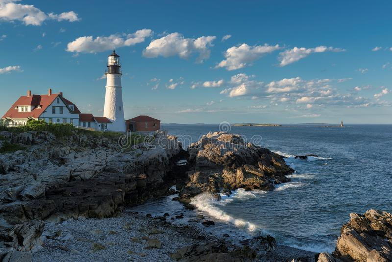 Portland Lighthouse in Cape Elizabeth, Maine, USA. Portland Head Lighthouse in Cape Elizabeth, Maine, USA. One Of The Most Iconic And Beautiful Lighthouses stock photos