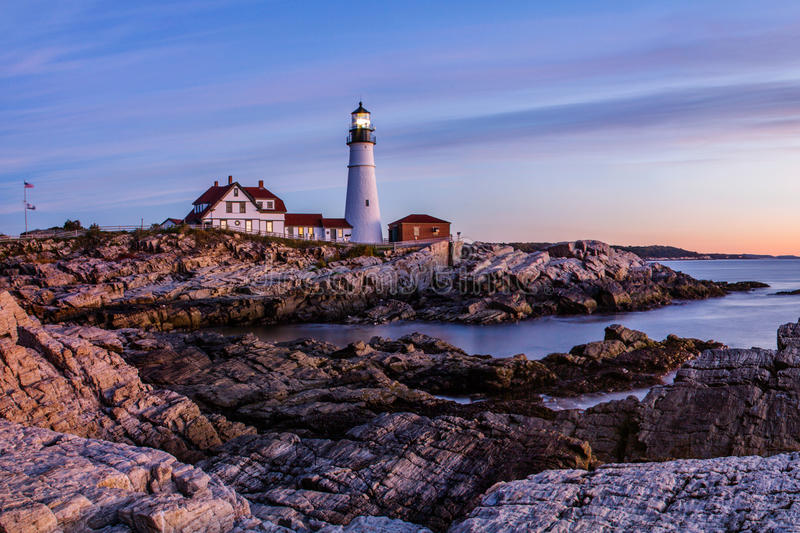 Portland Lighthouse at Dawn stock photography