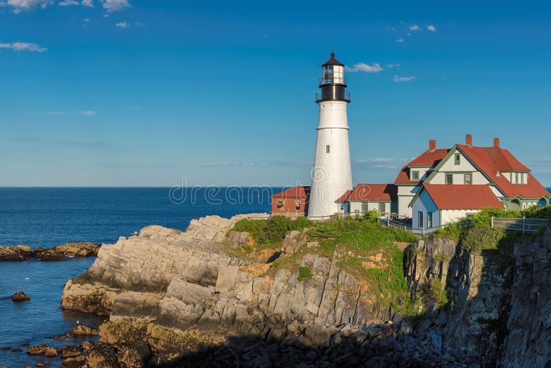 Portland Lighthouse in New England, Maine. Portland Head Lighthouse in Cape Elizabeth, New England, Maine, USA. One Of The Most Iconic And Beautiful Lighthouses stock image