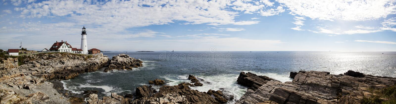 Portland Lighthouse Panorama stock images