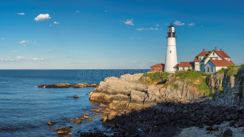 Portland Lighthouse panoramic view. Panorama of Portland Head Lighthouse in Cape Elizabeth, New England, Maine, USA. One Of The Most Iconic And Beautiful royalty free stock image
