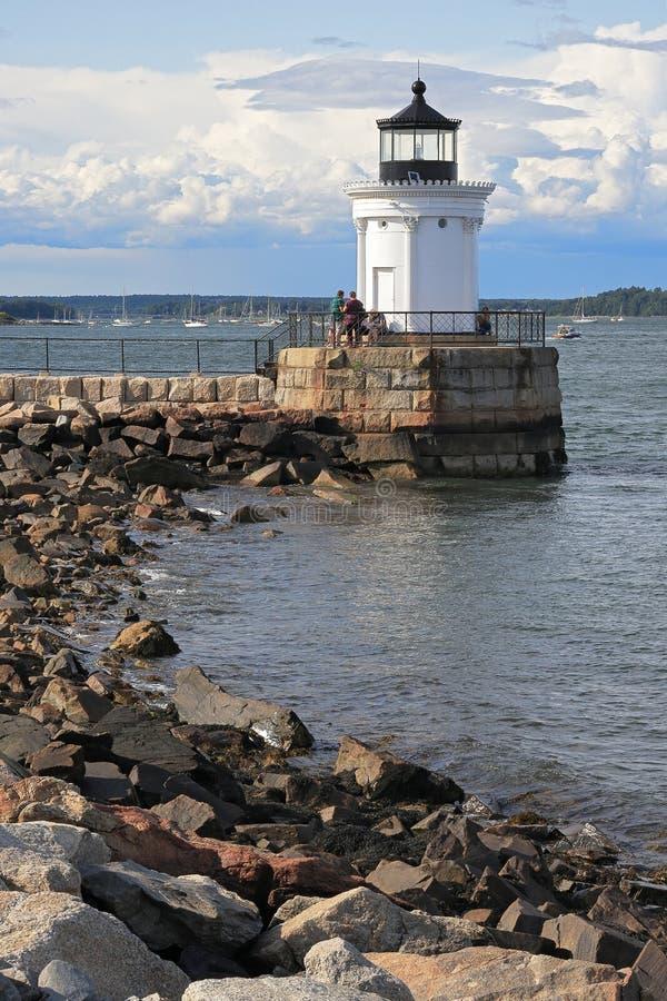 Portland Breakwater Lighthouse Bug Light is a small lighthouse at the South Portland Bay Portland Maine USA. stock photo