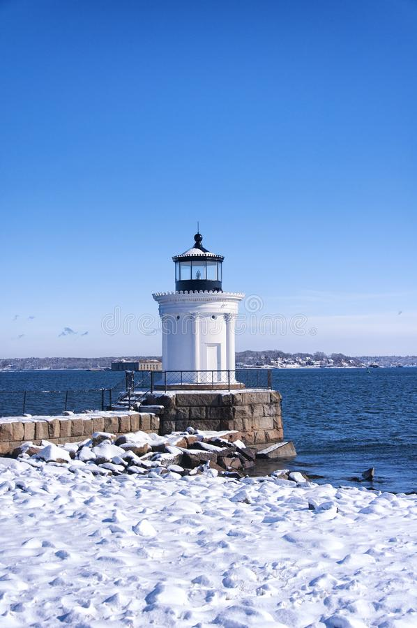 Portland Maine Breakwater Lighthouse winter royalty free stock photography