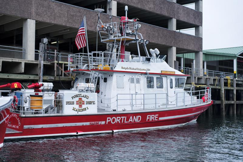 Portland Maine Fire rescue Boat stock images