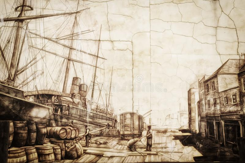 Portland Maine Harbor Painting weathered royalty free stock images