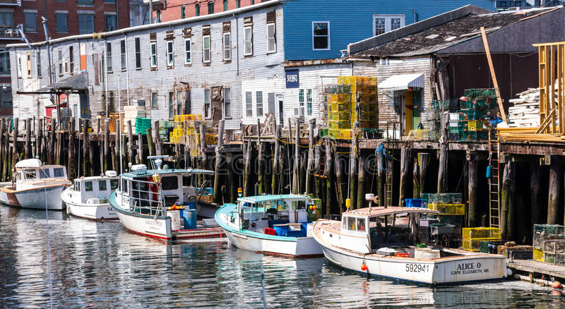 Portland Maine Harbor Scene arkivfoton