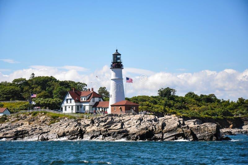 Portland Maine Head Light da água imagens de stock
