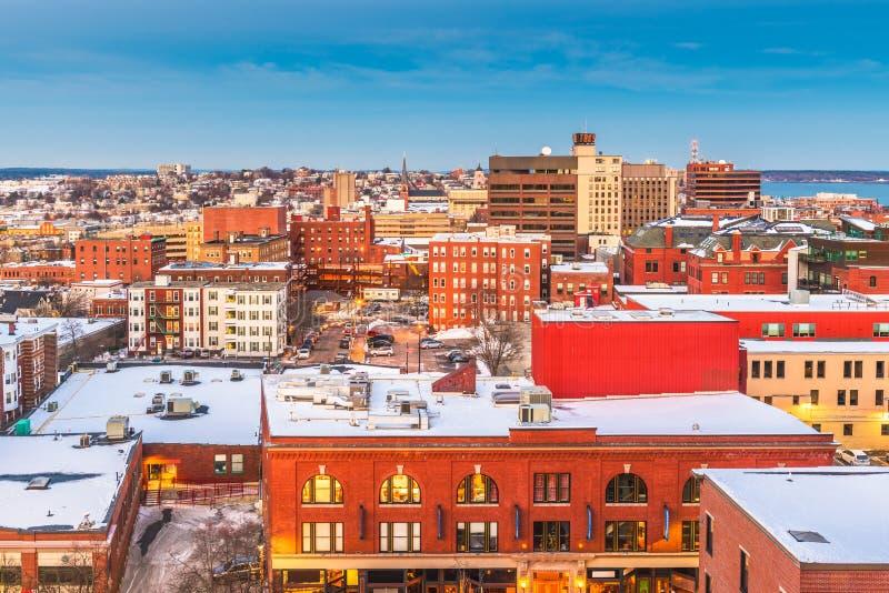 Portland, Maine, skyline da cidade dos EUA imagens de stock
