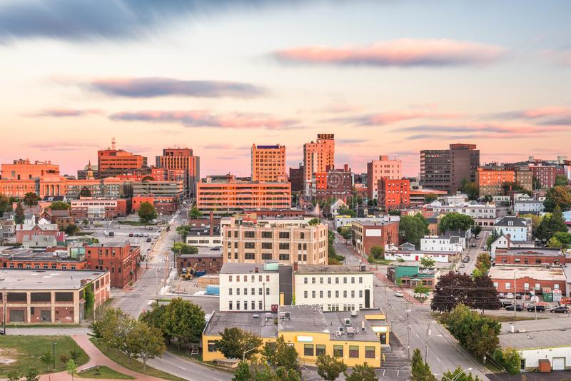 Portland, Maine, USA downtown skyline. Portland, Maine, USA downtown city skyline at dusk royalty free stock photography