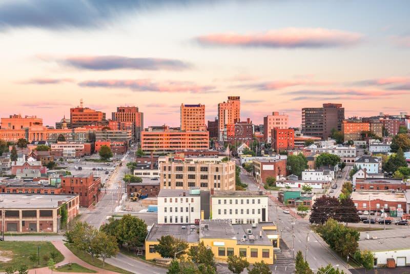 Portland Maine, USA i stadens centrum horisont royaltyfri fotografi