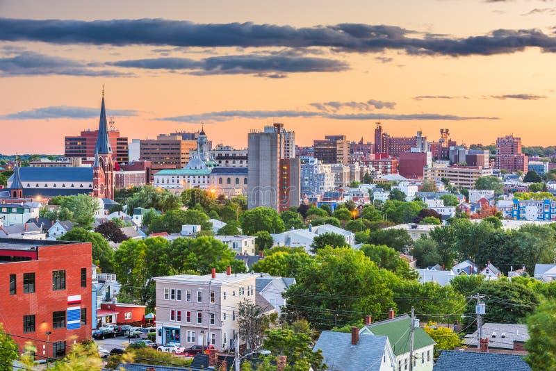 Portland Maine, USA i stadens centrum horisont royaltyfria bilder