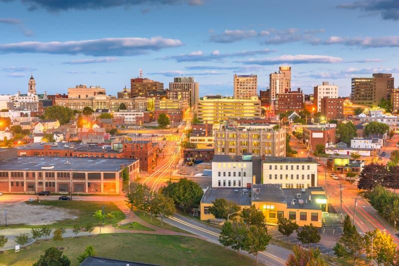 Portland Maine, USA i stadens centrum horisont fotografering för bildbyråer