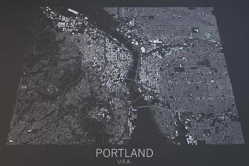 Portland map, satellite view, United States. Portland satellite view on a dark background, United States royalty free stock images