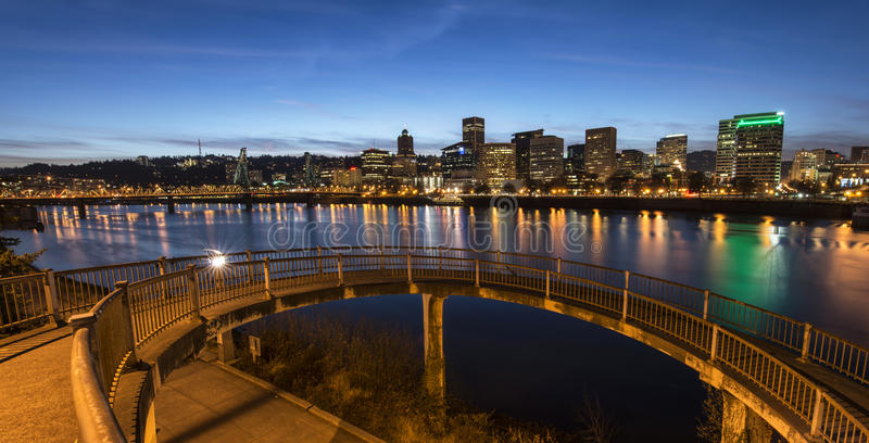 Portland at Night. Beautiful view of sky line opens before your eyes from Riverfront Park on Willamette River royalty free stock photography