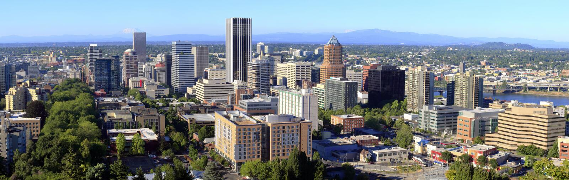 Portland O. panorama que parece del norte. fotografía de archivo libre de regalías
