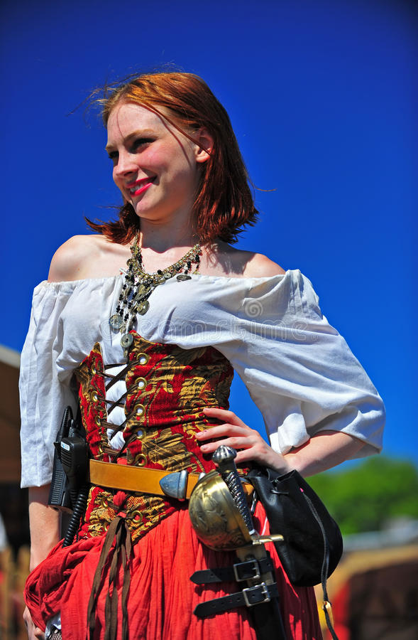 Portland-ODER Piraten-Festival-lächelndes Mädchen stockbild