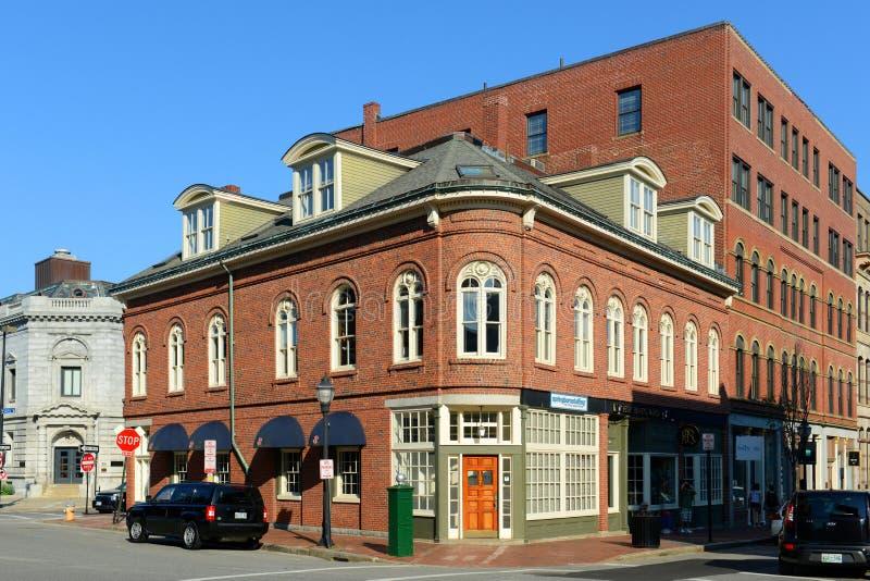 Portland Old Port Charles Q. Clapp Block, Maine stock photo