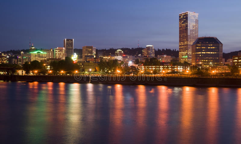 Willamette River Portland Oregon Building at Night royalty free stock photography