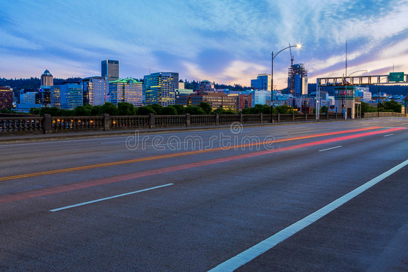 Portland, Oregon from the Burnside Bridge. View of Portland, Oregon Skyline from the Burnside Bridge royalty free stock image