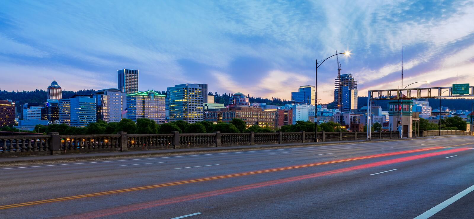 Portland, Oregon from the Burnside Bridge. View of Portland, Oregon Skyline from the Burnside Bridge royalty free stock photos