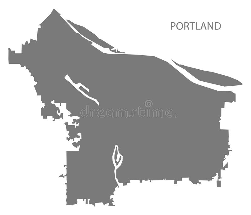 Portland Oregon city map grey illustration silhouette shape stock illustration