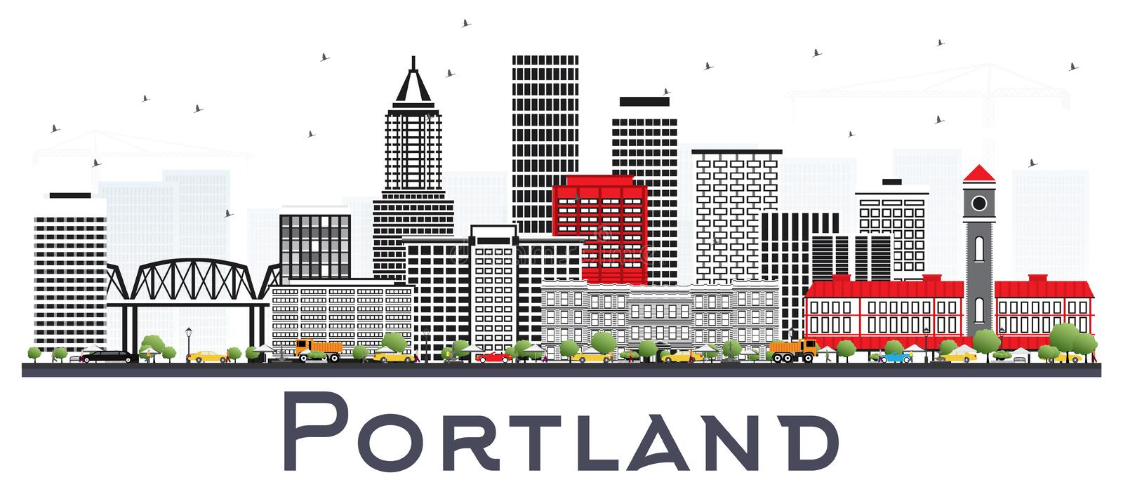 Portland Oregon City Skyline with Gray Buildings Isolated on White. Vector Illustration. Business Travel and Tourism Concept with Modern Architecture. Portland royalty free illustration