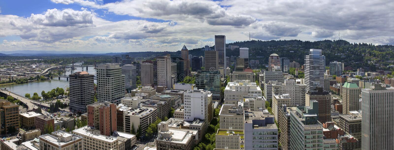 Portland Oregon Cityscape Aerial View stock image