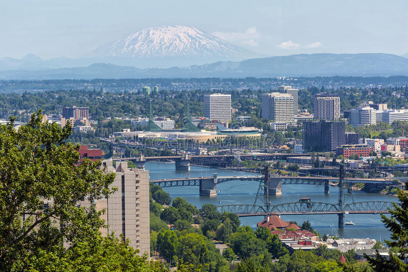 Portland Oregon Cityscape with Mount Saint Helens View royalty free stock images