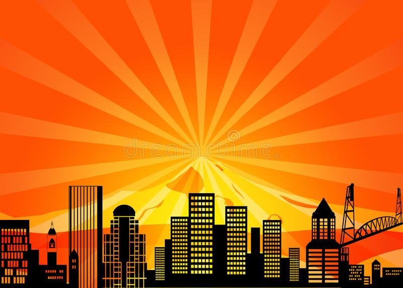 Download Portland Oregon Downtown City Skyline Stock Illustration - Image: 21962081