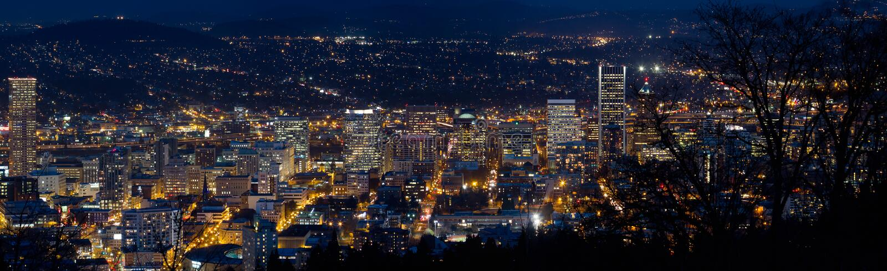 Portland Oregon Downtown Cityscape at Dusk stock image