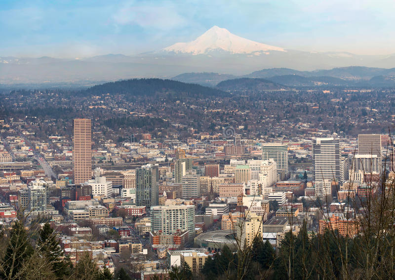 Portland Oregon Downtown Cityscape and Mt Hood royalty free stock images