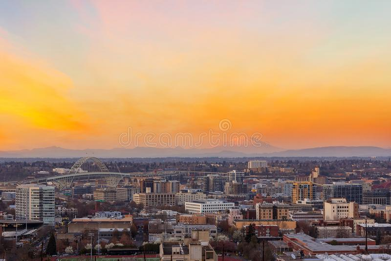 Sunset over Portland OR Cityscape and Mt Saint Helens USA stock photography