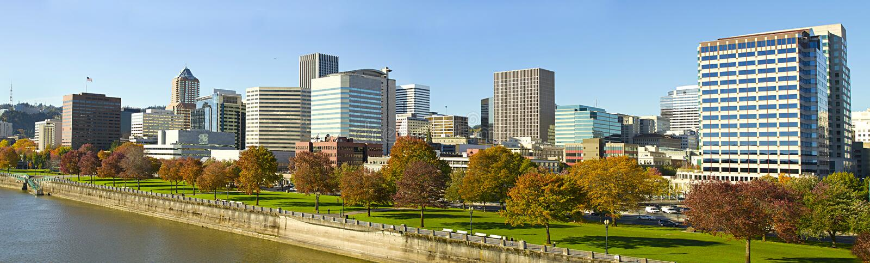 Portland Oregon Downtown Skyline Waterfront Park stock image