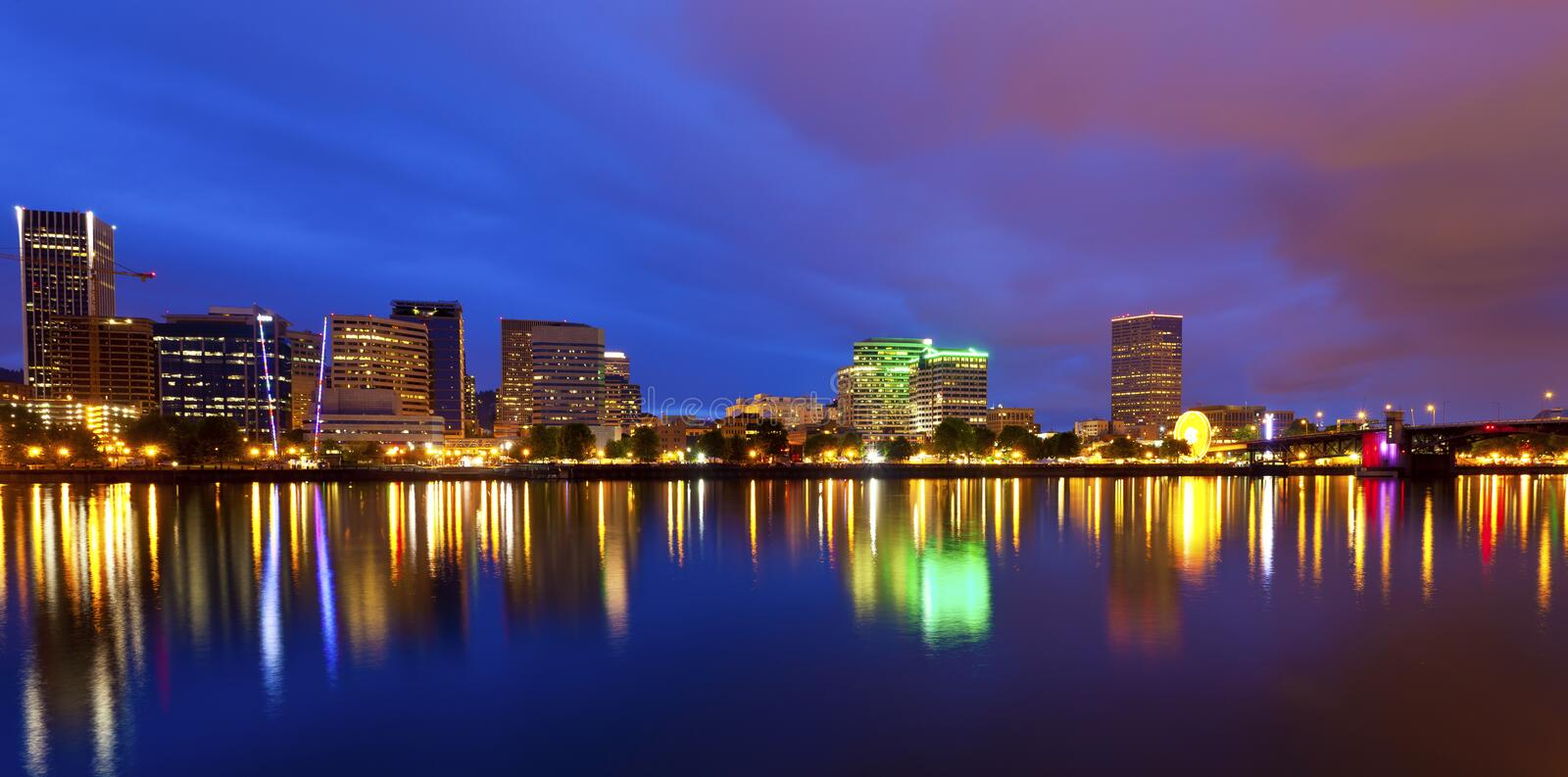 Portland Oregon at dusk stock images