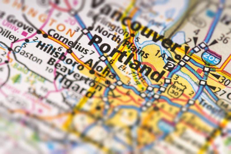 Portland, Oregon en mapa foto de archivo libre de regalías