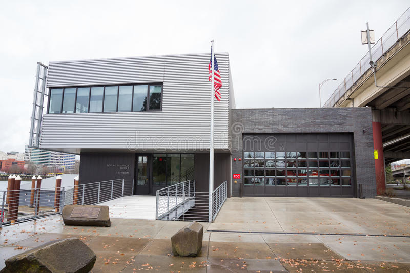 Portland Oregon Fire Department Station 21 on SE Madison. PORTLAND, OR - FEBRUARY 27, 2016: Unique architecture for the waterfront fire station of the Portland royalty free stock photo