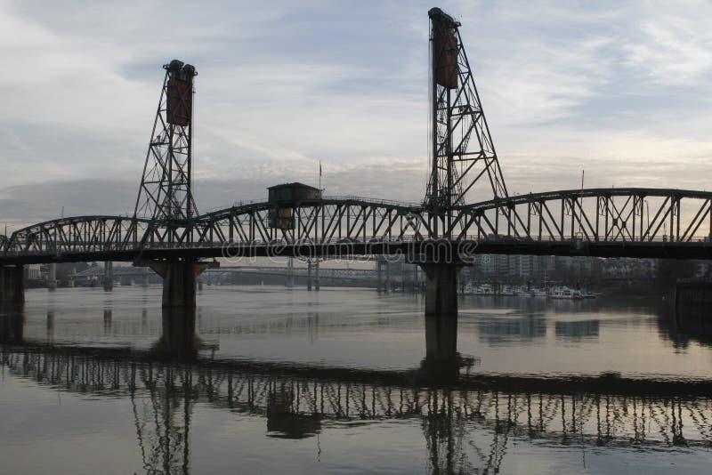 Portland Oregon Hawthorne Bridge Willamette River stock image
