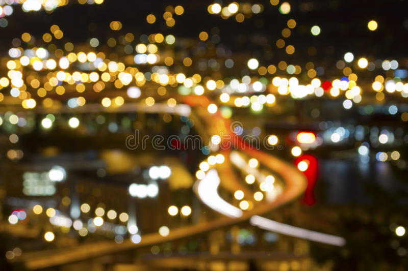 Portland Oregon Out of Focus City Lights stock photo
