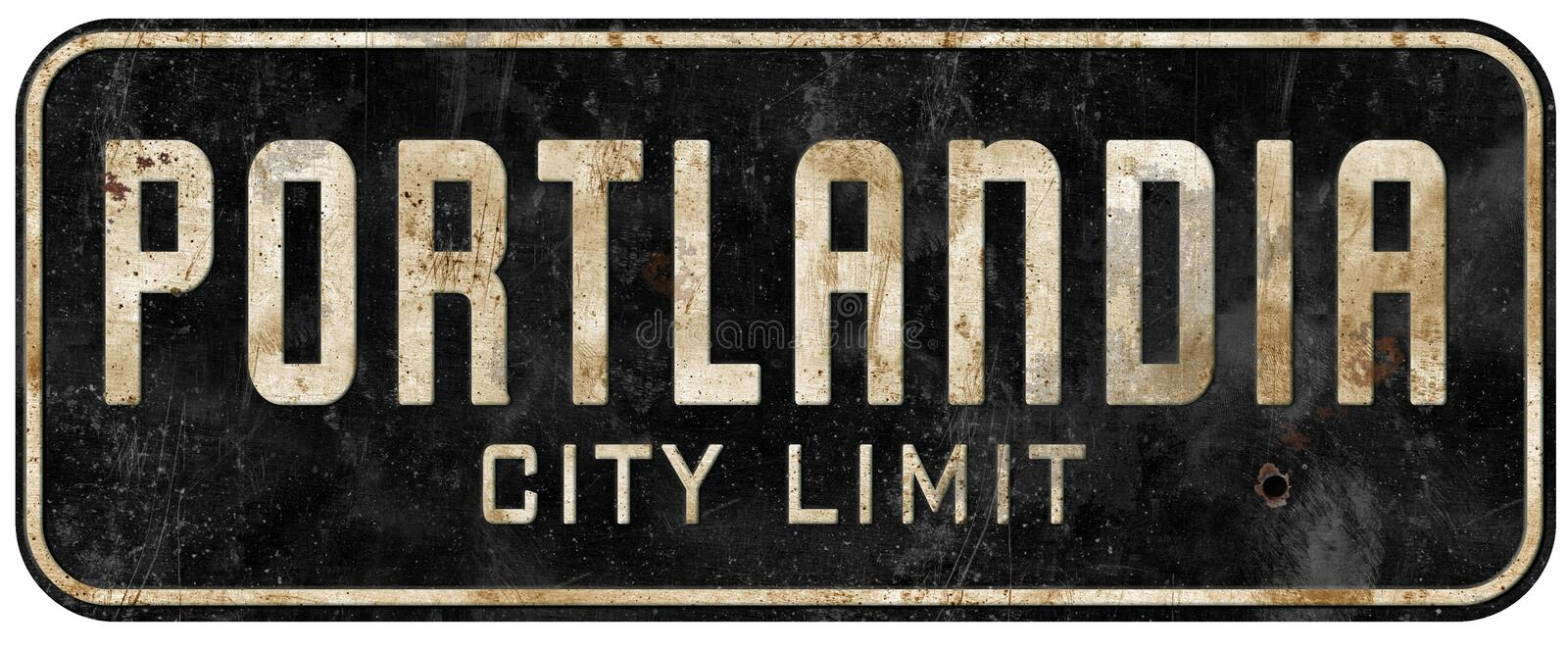 Portland Oregon Portlandia city limit sign grunge vintage royalty free stock image
