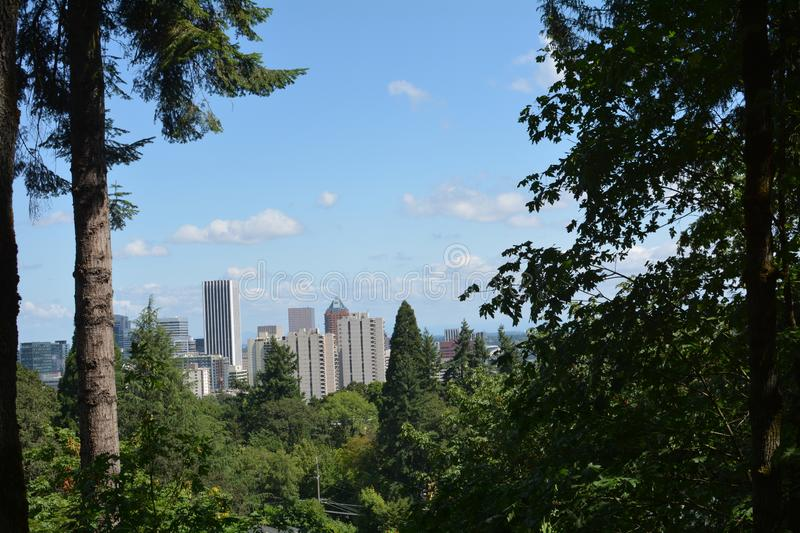 Portland, Oregon skyline from the West Hills. This is the Portland, Oregon skyine taken from a vantage point in the West Hills royalty free stock photo